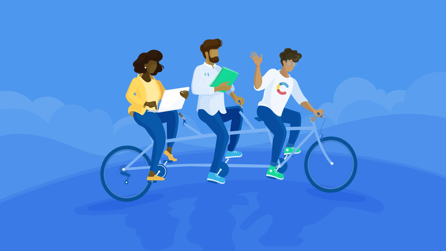 An illustration of three individuals riding a bicycle with three seats.