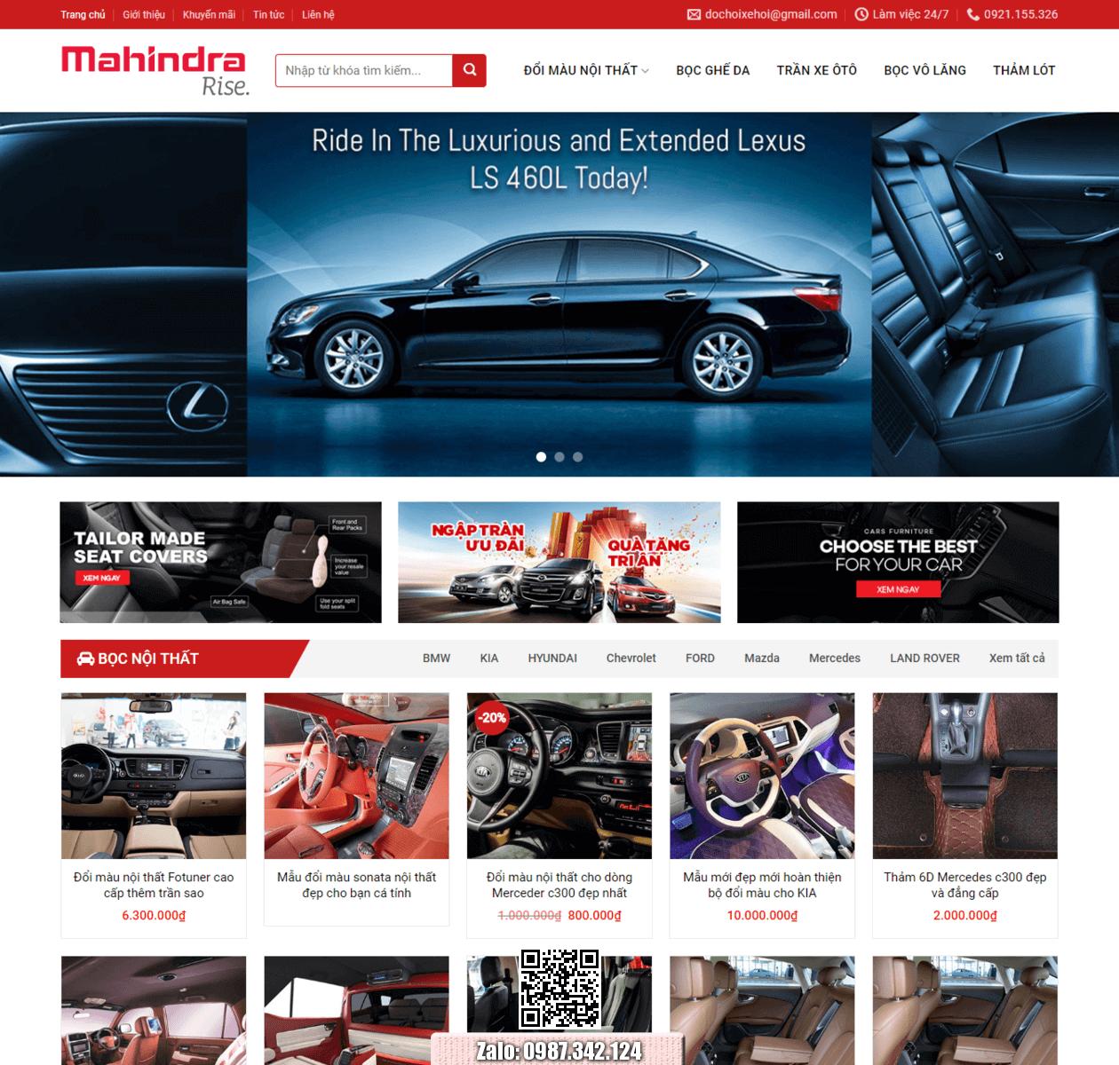 Mẫu web bán phụ kiện xe oto thumbnail