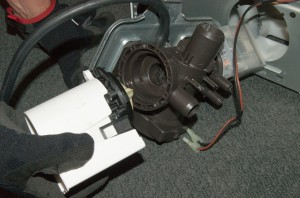 PHOTO: Remove the drain pump from the pump body.
