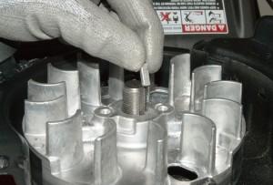 Install the new flywheel key into the crankshaft slot.