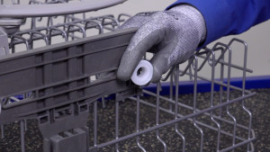 Replacing dishrack plastic height adjuster rollers on Kenmore 665-series and Whirlpool dishwashers.