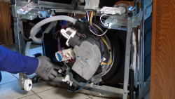 Troubleshooting and fix a leaking dishwasher.