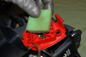Remove the air filter from the line trimmer.