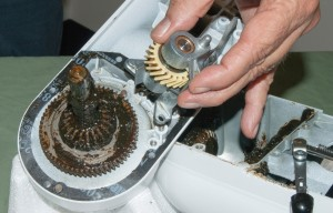 PHOTO: Install the new worm gear assembly.