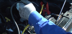 Jump-starting a riding lawn mower battery video.