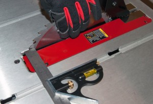 PHOTO: Place the combination square in the miter groove.