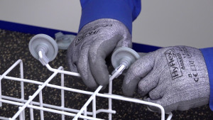 How to replace a dishrack roller on a Kenmore 587-series or Frigidaire dishwasher.