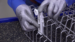 Replacing upper dishrack stationary or adjustable rollers on Kenmore 665-series and Whirlpool dishwashers