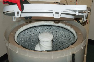 Pull the tub ring off the outer tub.