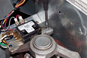 PHOTO: Install the new centrifugal switch.