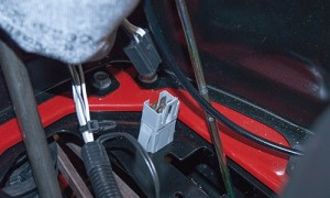 PHOTO: Connect the brake interlock switch wire.