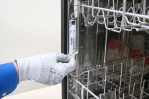 PHOTO: Clean the dishwasher door seal channel.