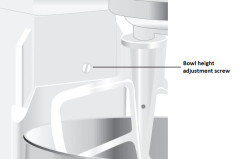 Adjust the stand mixer beater to bowl clearance