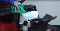 How to change the oil in a riding lawn mower video.