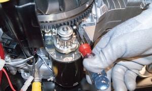 Install the new starter motor.