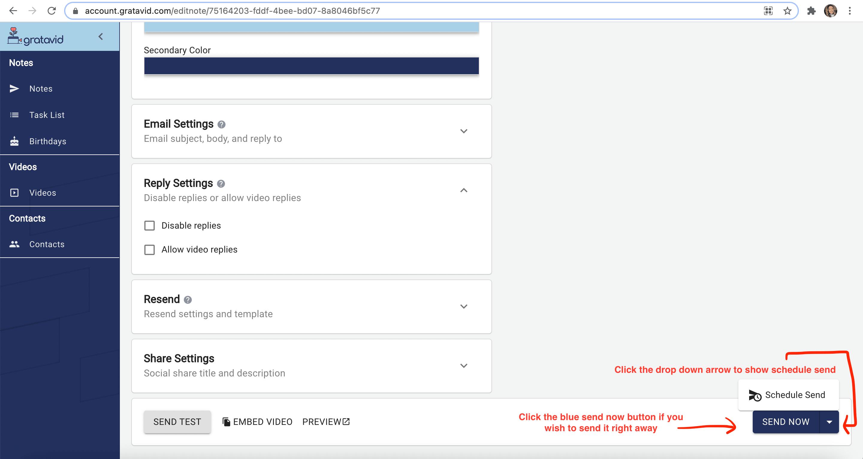 send options