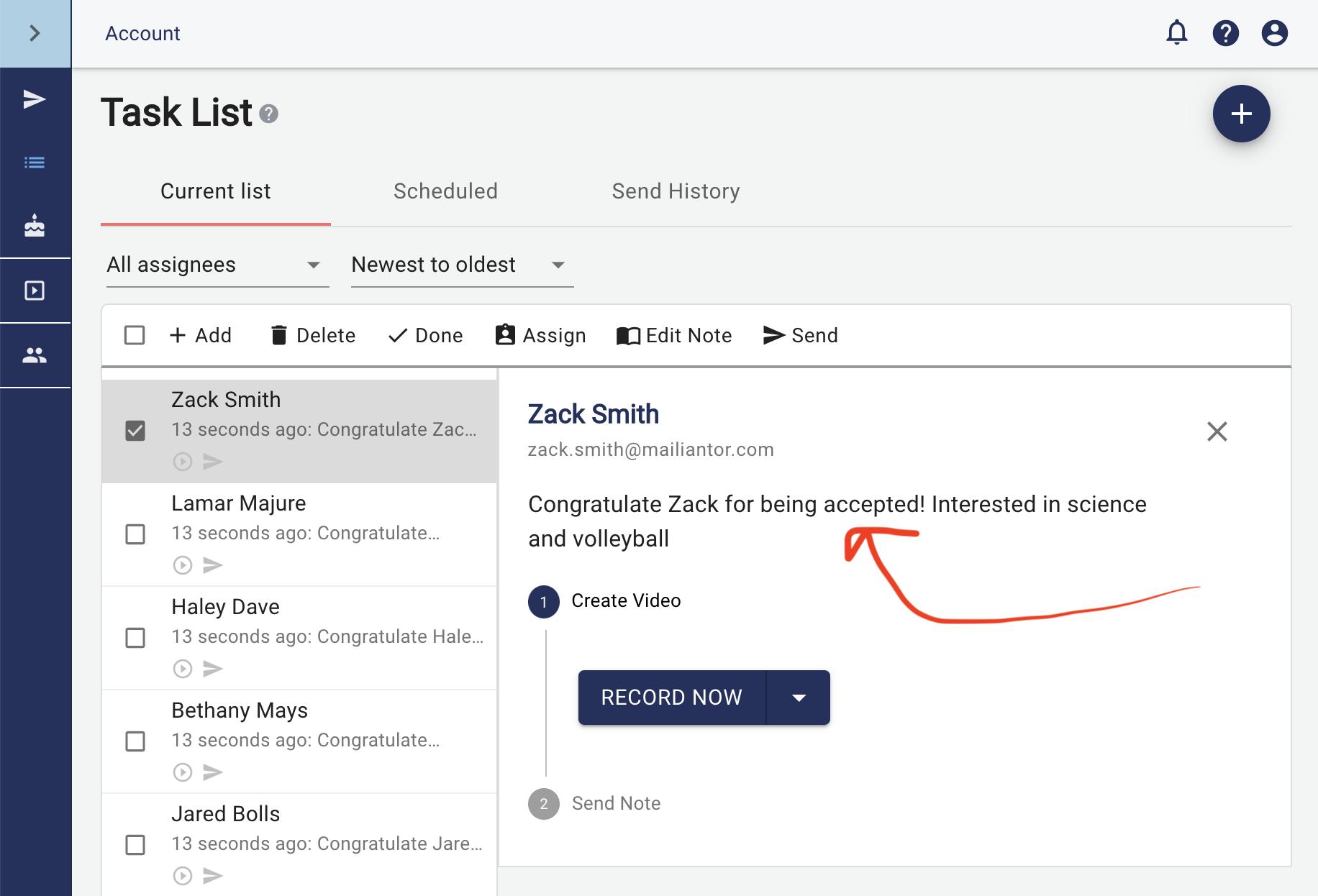 Gratavid Task List Screen Shot Admissions Use Case