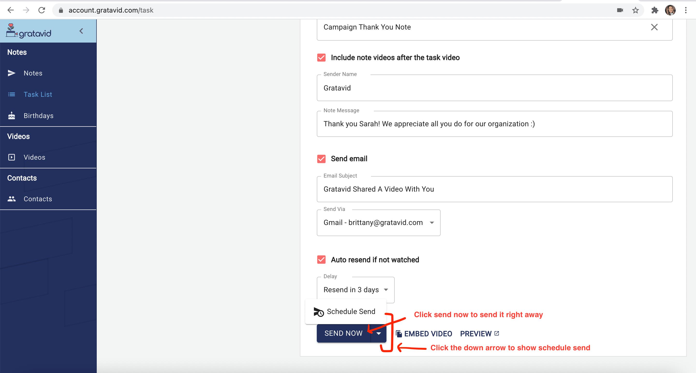 task send options