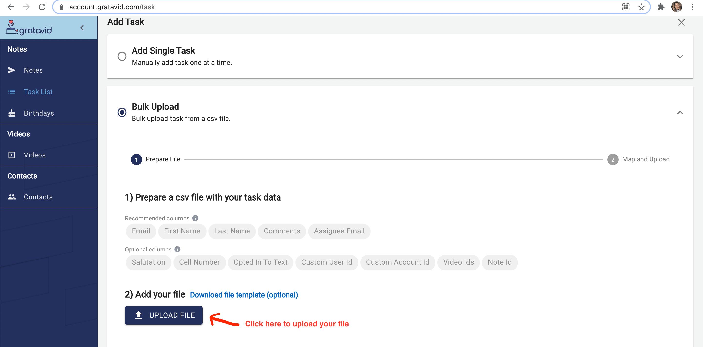 upload tasks file