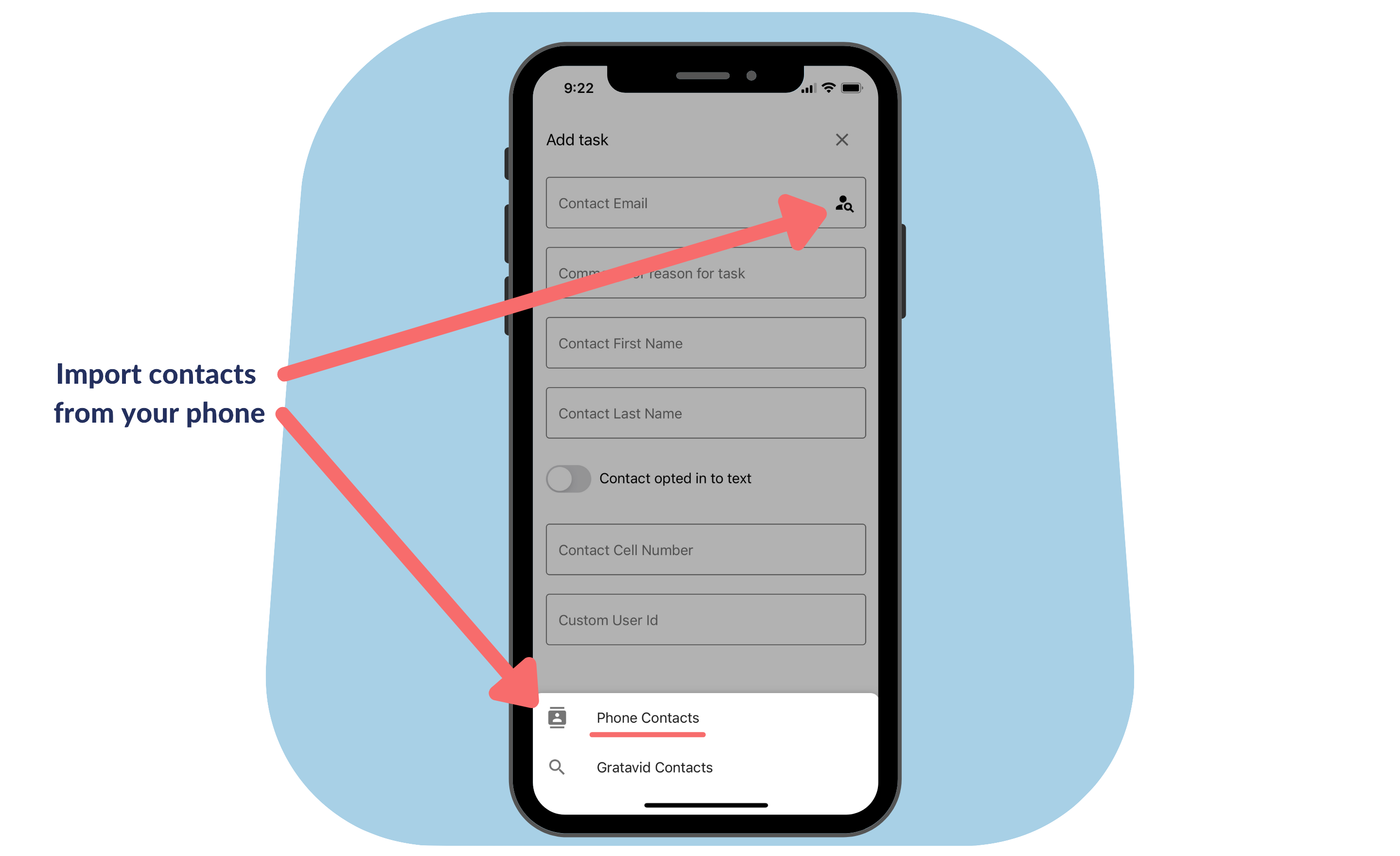 Hidden app features - import contacts from phone