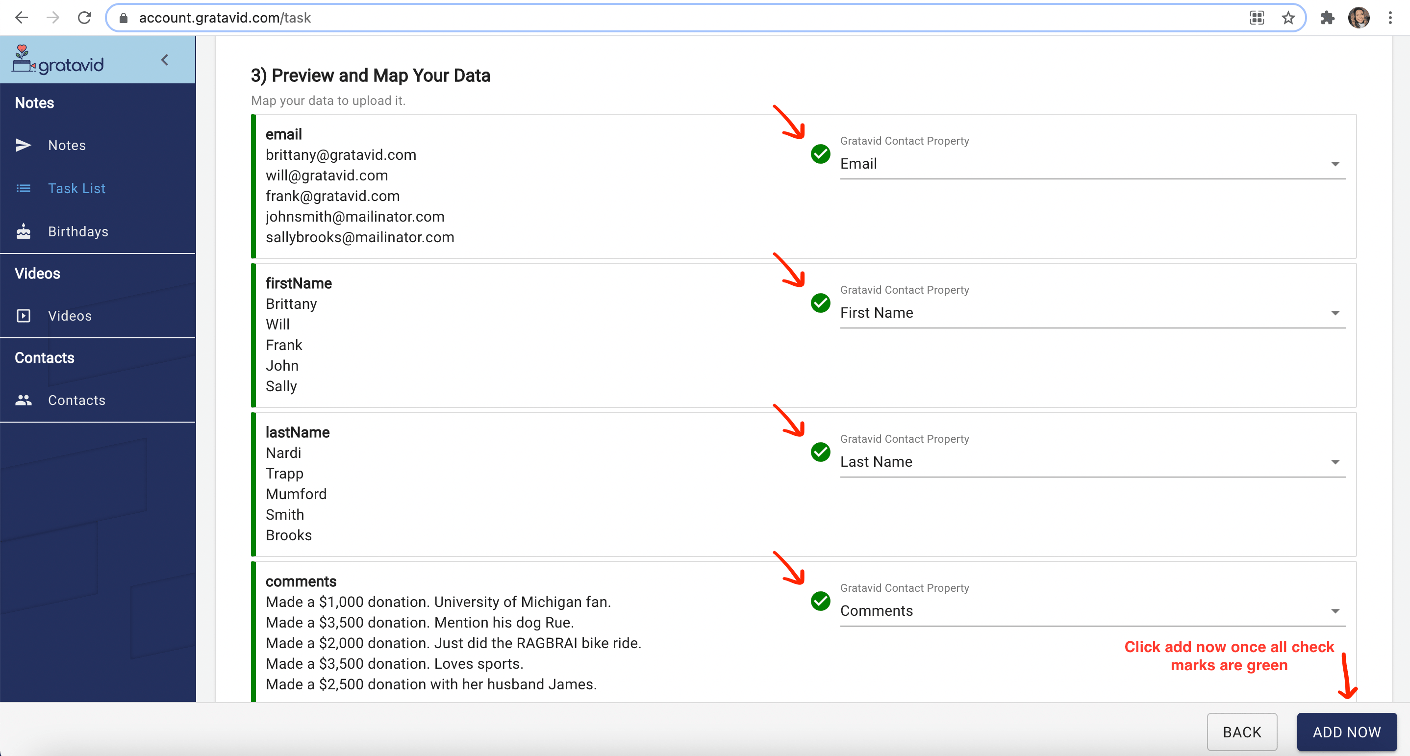 mapping check marks