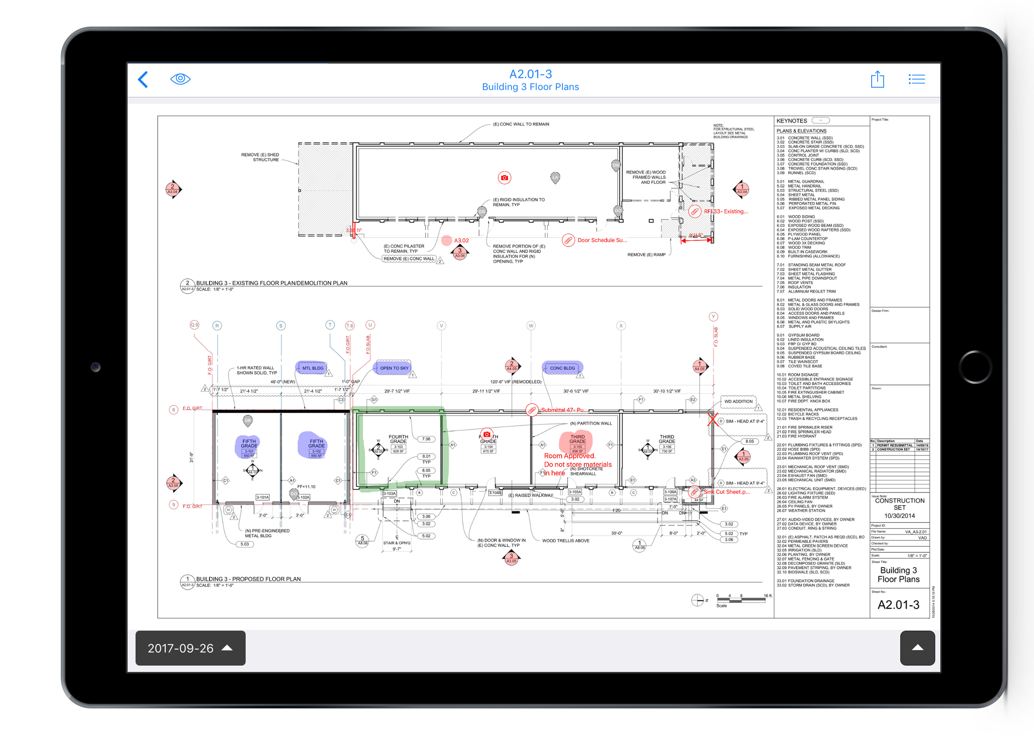Plans with mark-ups in iPad Pro frame 2018-11