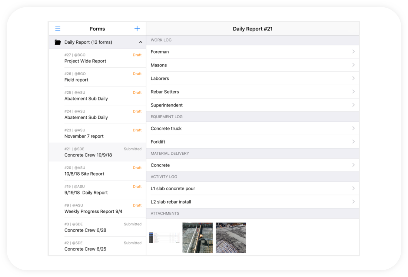 Daily reports ipad 2