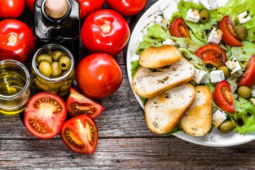 tomatoes, olives, salad