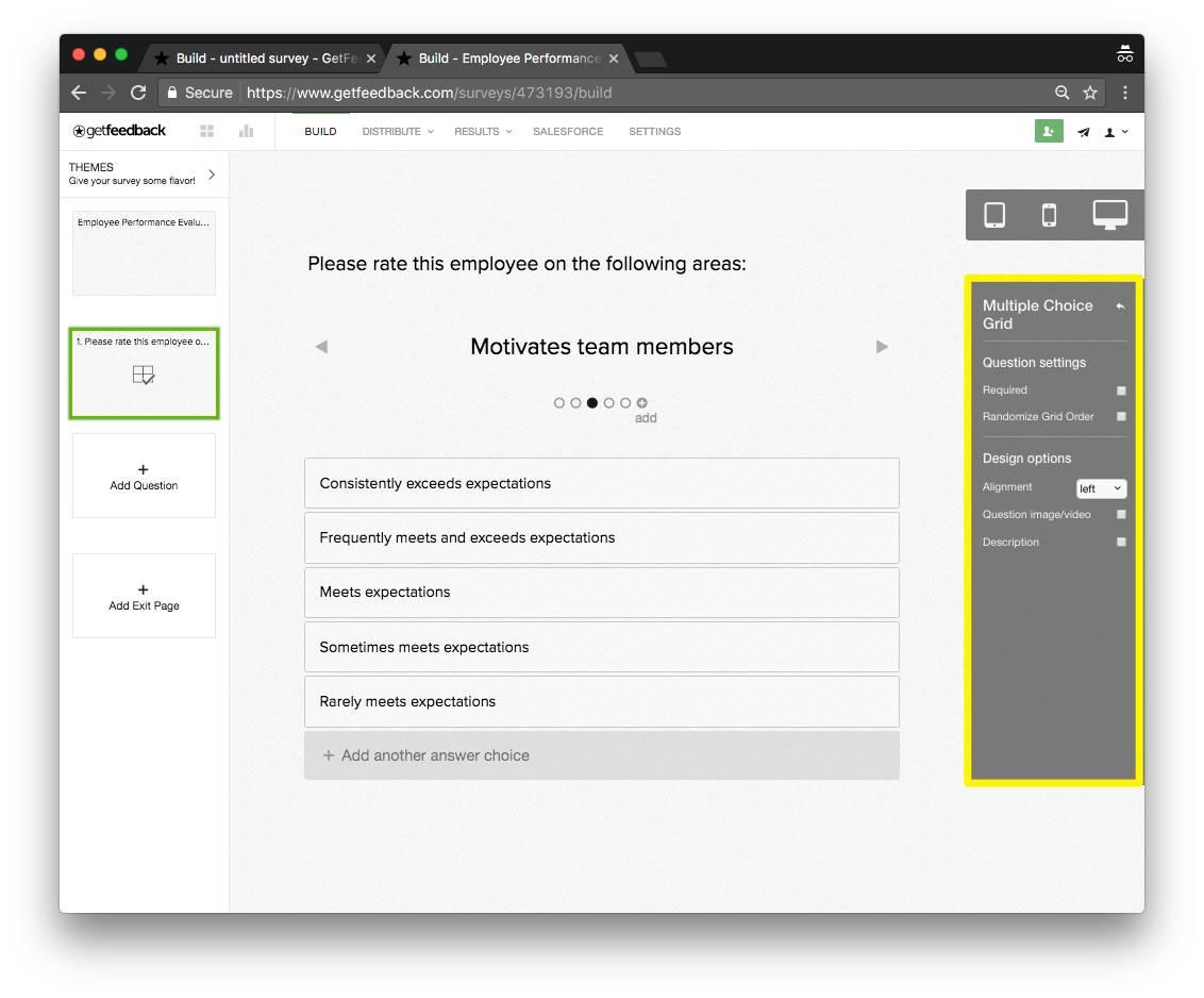 GetFeedback grid example - ipad - survey question types