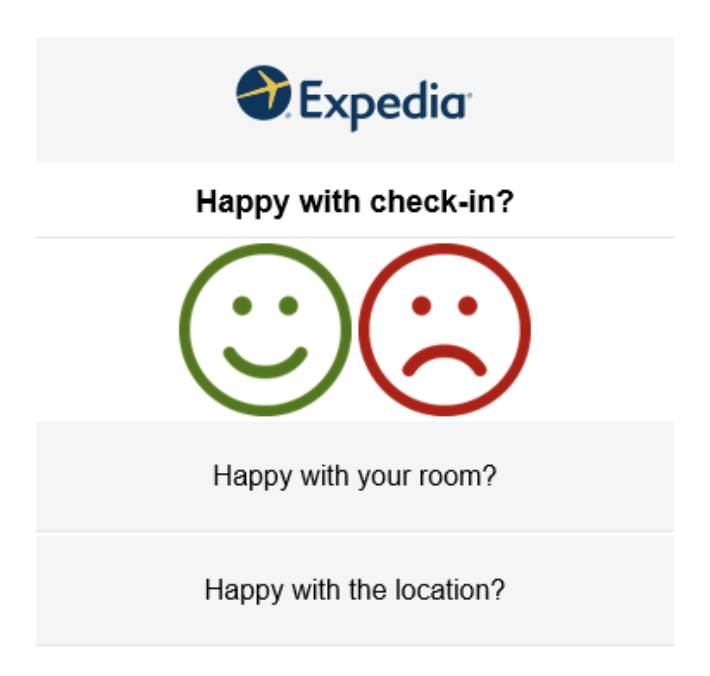 how to measure touchpoints in the customer journey map - Expedia survey