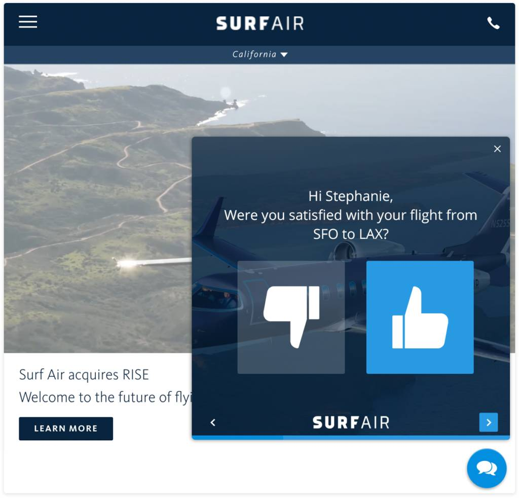 Surf Air Website Survey Widget