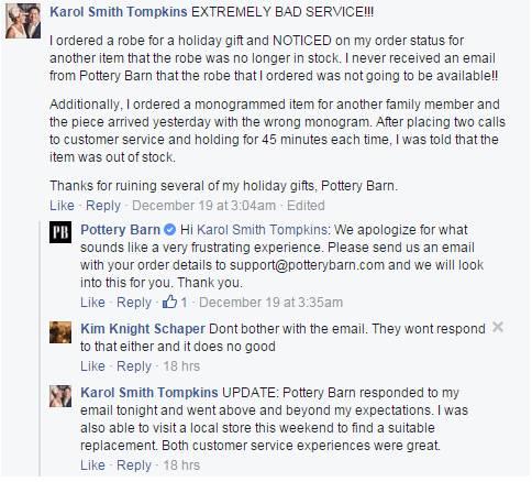 social media support - Pottery Barn - customer engagement