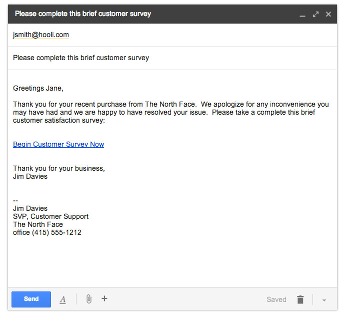 email surveys - hyperlink example
