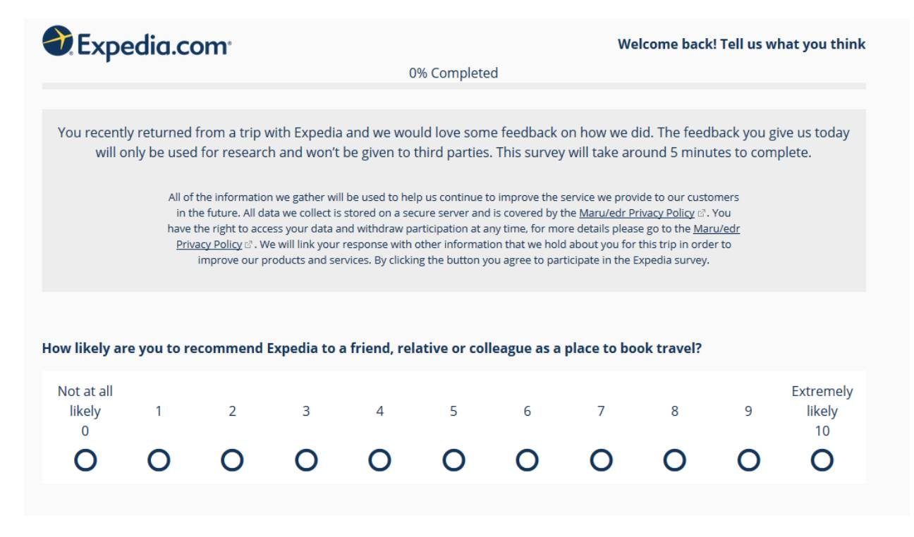 Expedia NPS survey Customer Journey Map