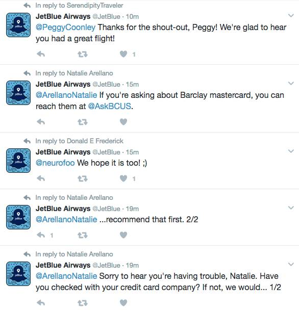 social customer service - JetBlue Twitter