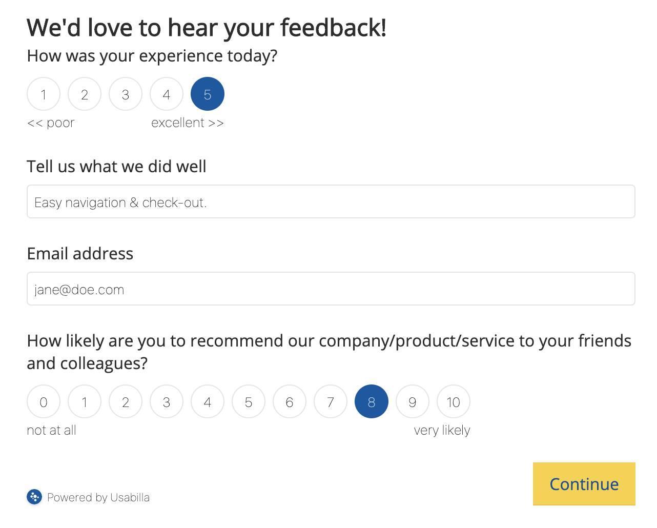 CSAT NPS survey example