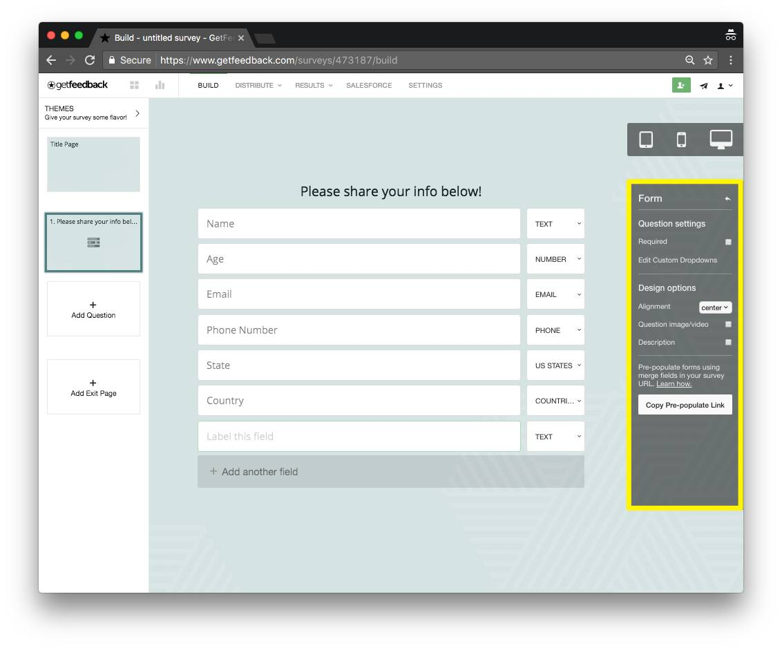 GetFeedback builder - form question - survey question types