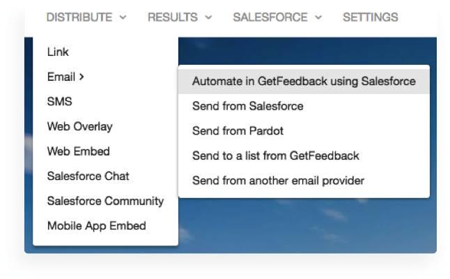 Email surveys New Distribute Dropdown