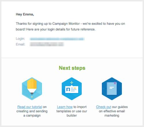 Campaign Monitor welcome email loyal customers