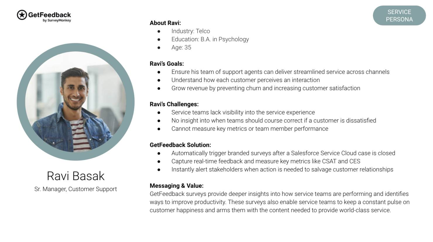 B2B persona profile example by GetFeedback