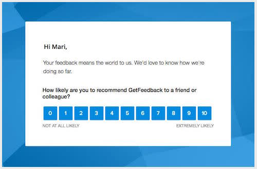 example of a GetFeedback Net Promoter Score survey