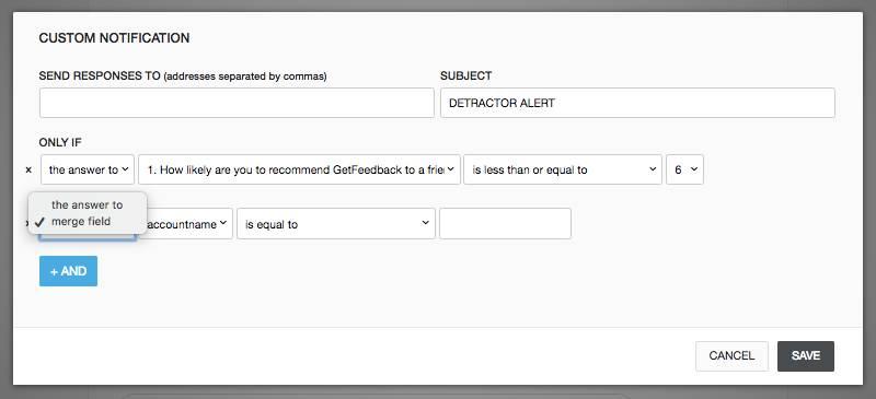custom notifications - detractor alert settings