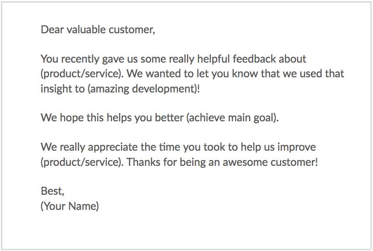 thank customers for feedback