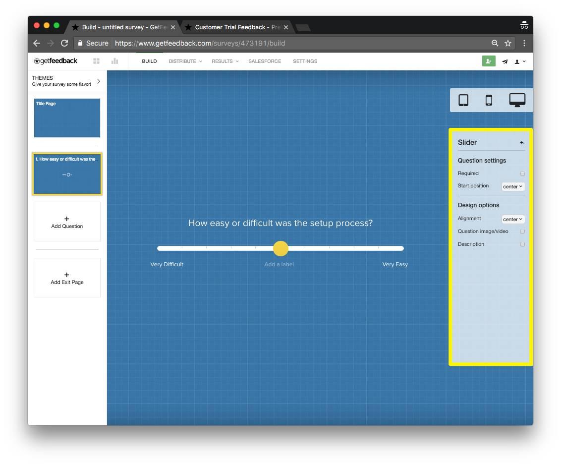 GetFeedback slider example - ipad - survey question types