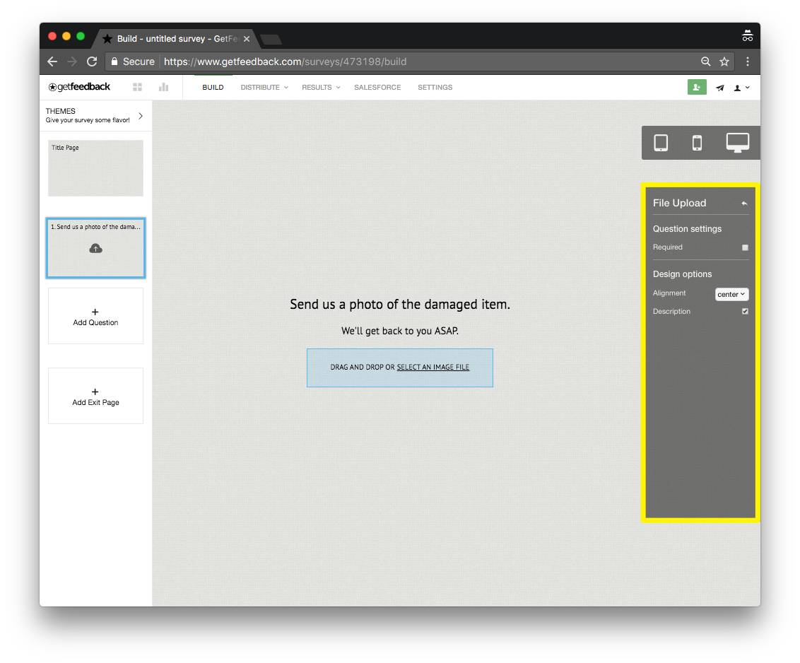 GetFeedback Image Upload example - ipad - survey question types