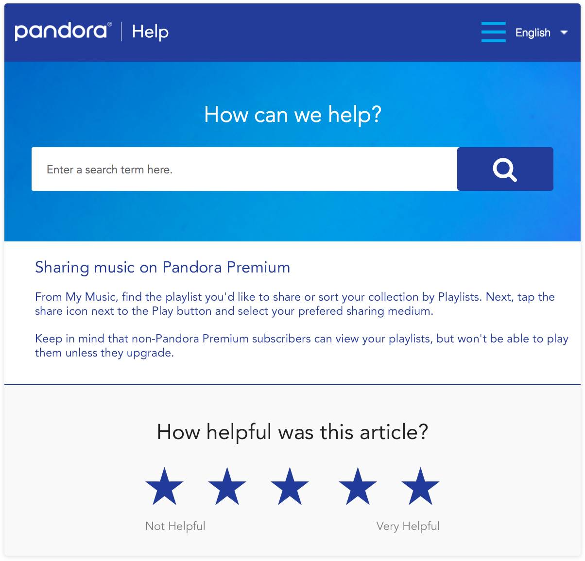 Pandora knowledge base article survey