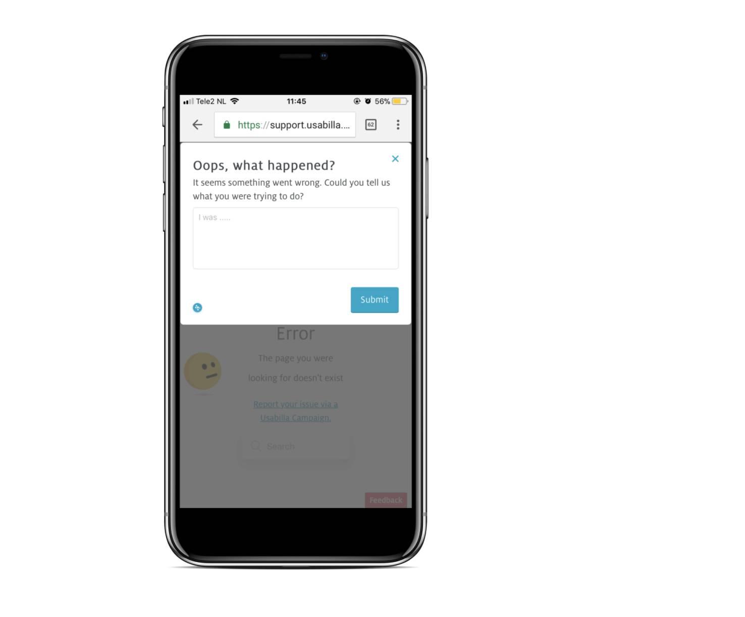 GetFeedback Digital error page survey on mobile