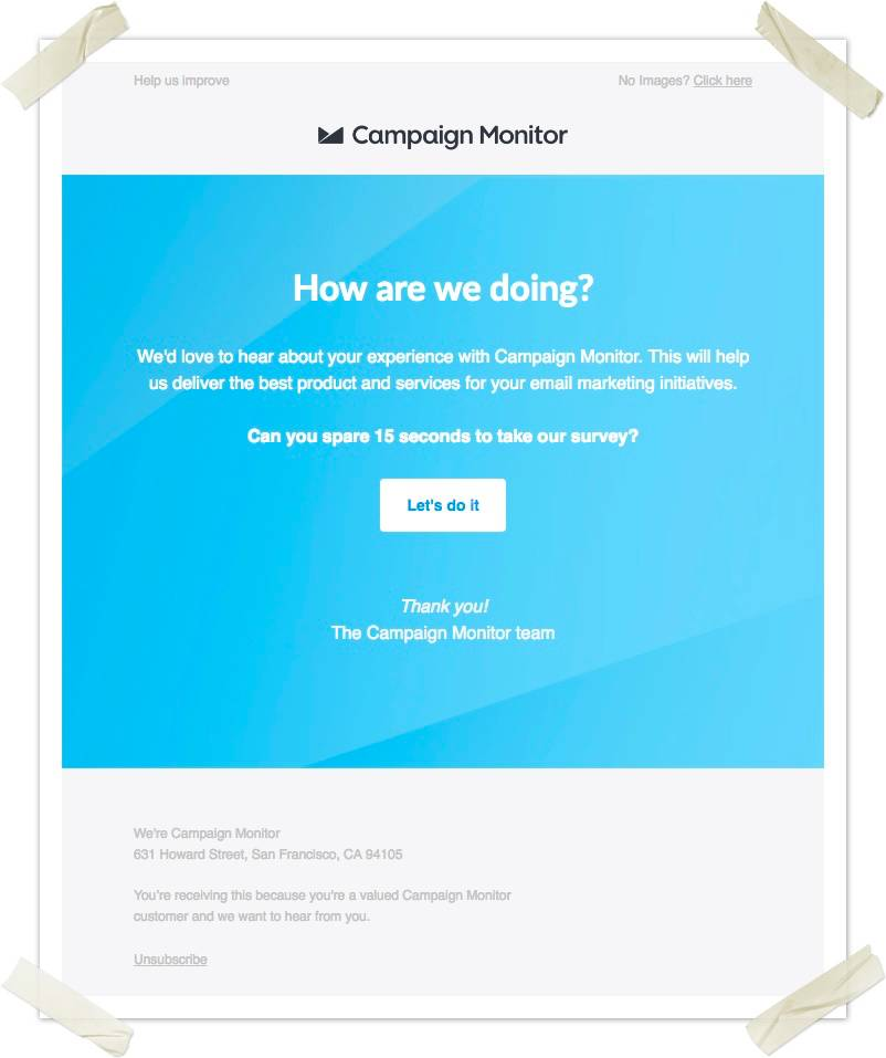 Campaign Monitor's NPS survey email