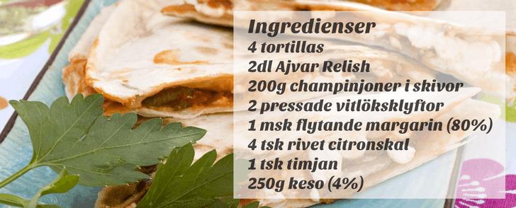 Vegetariskt recept på quesadillas – på under 500 kalorier