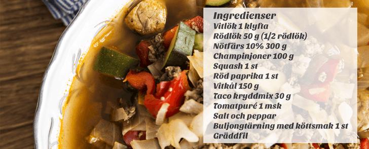 Recept på Tacosoppa – på under 200 kcal